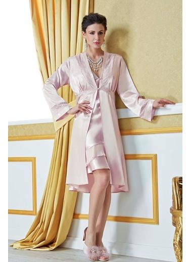 Dantel Saten Sabahlık Gecelik Takım Versace